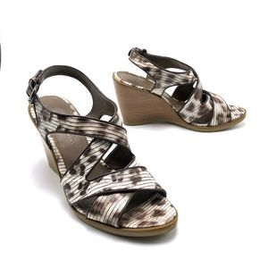 B. MAKOWSKY Animal Print Leather Wedge Sandals